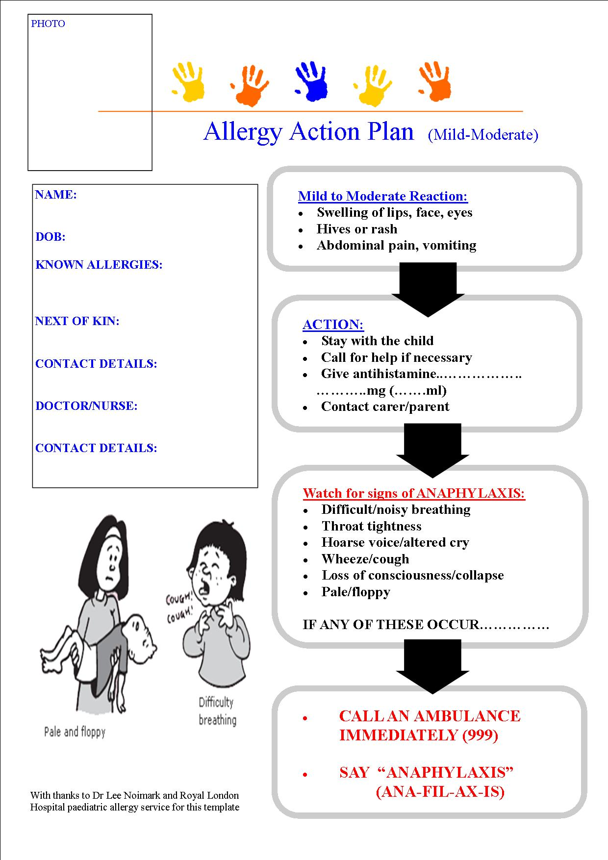 allergy action plan template - march 2013 paediatric pearls