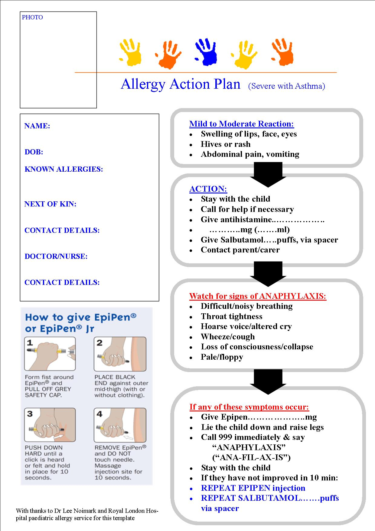 Seizure action plan template image collections template for Asthma management plan template